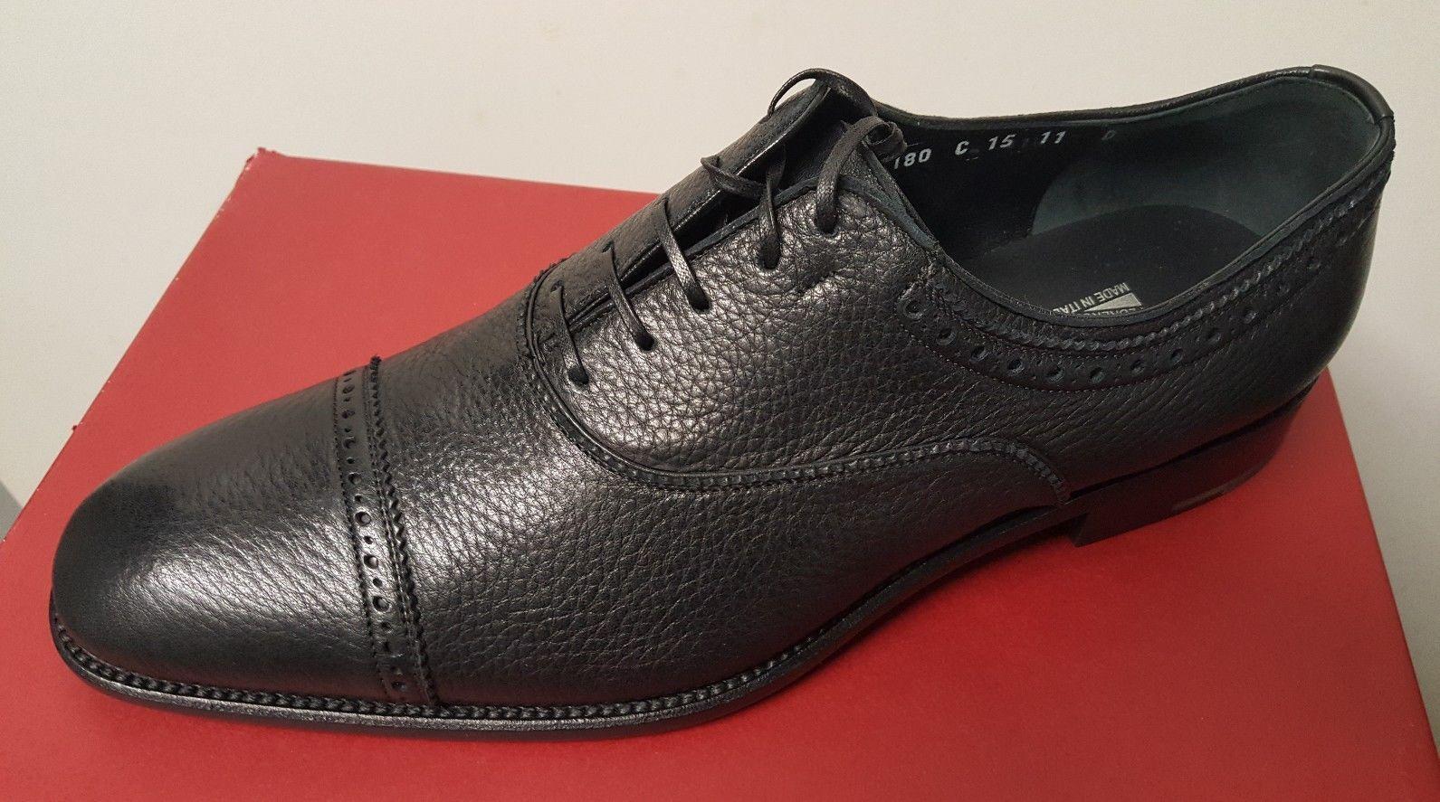 Salvatore Ferragamo Oxfords Cap toe Pebble Leather Black Mens NEW Authentic