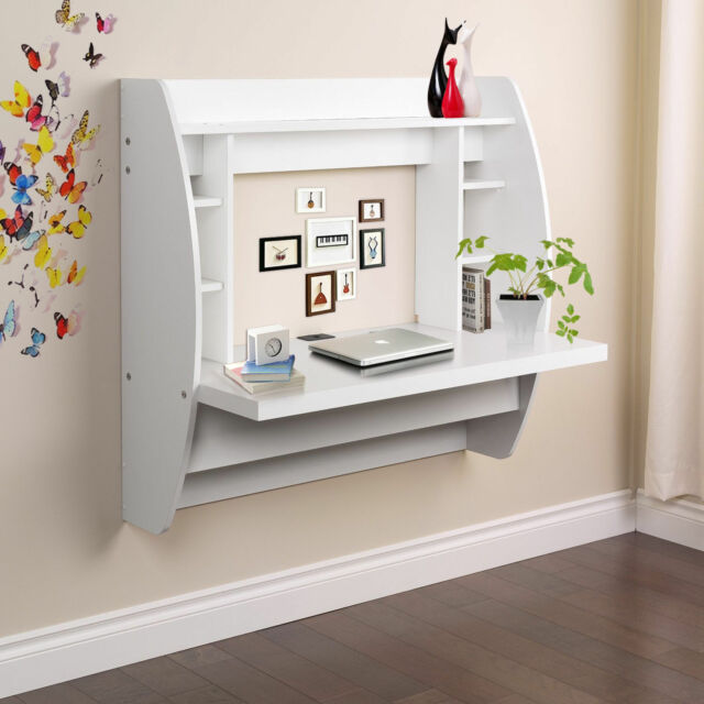 Home Office Computer Desk Table Floating Wall Mount Desk W/Storage Shelves  White