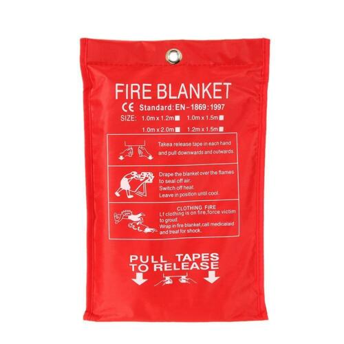 FIRE BLANKET 1M x 1M QUALITY QUICK RELEASE LARGE FULLY APPROVED RED CASE Su X3N1