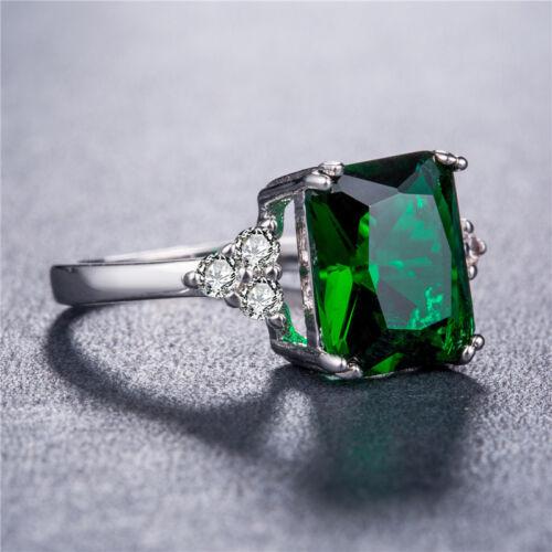 Elegant Argent 925 Anneaux Pour Femmes Taille Princesse 2.0 CT Emerald Ring Taille 6-10