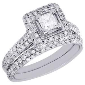 2ed1d729df68a Details about Princess Cut Solitaire Diamond Bridal Set 14K White Gold  Engagement Ring 1.25 ct