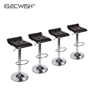 Set-Of-4-Counter-Height-Pub-Bar-Stool-Swivel-Adjustable-Seat-PU-Leather-Brown