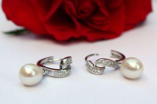 Yr33 agua dulce perlas joyas aretes pendientes 925 plata creolen real joyas