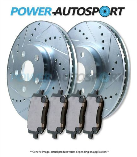 POWER CROSS DRILLED SLOTTED PLATED BRAKE ROTORS FRONT PADS 95998PK