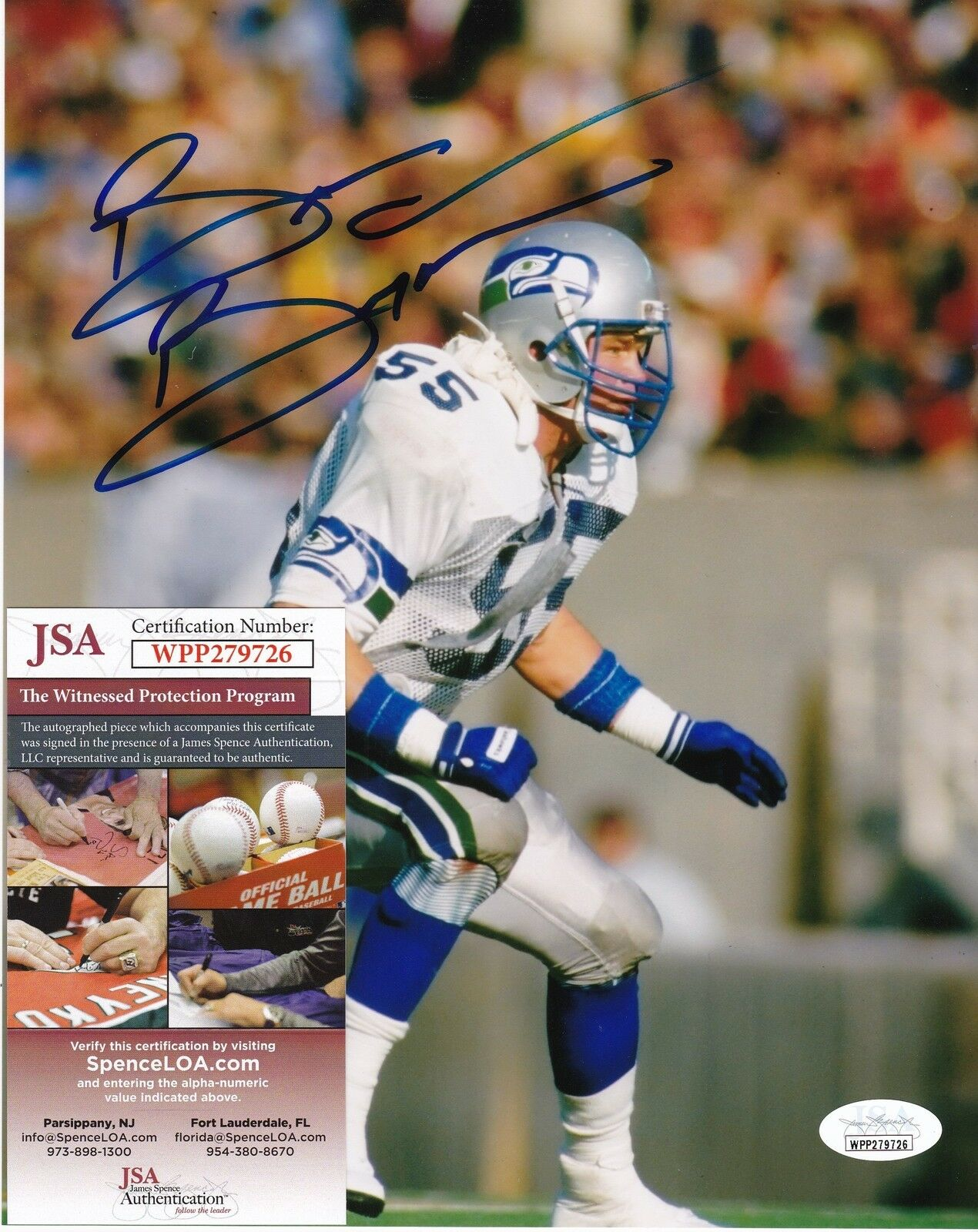 Brian Bosworth Seattle Seahawks JSA Authenitcated Acción Firmado 8x10