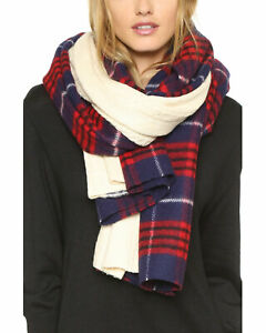Standard-Form-Womens-Grunge-Plaid-Knit-Scarf-Red