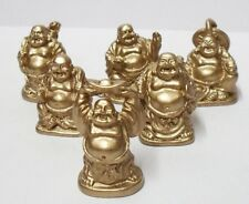 """6  Cute 1.25"""" Golden Color Mini Money Bag Happy Chinese Buddha Fortune Monk"""