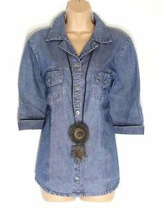 Damen-Vintage-m-amp-s-Mode-3-4-Armel-tailliert-blau-Denim-Jeans-Bluse-Shirt-Top-uk14