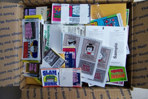 SCRATCHED,INSTANT LOTTERY TICKETS 35 DIFF 1990 ERA. USED 640 STATES
