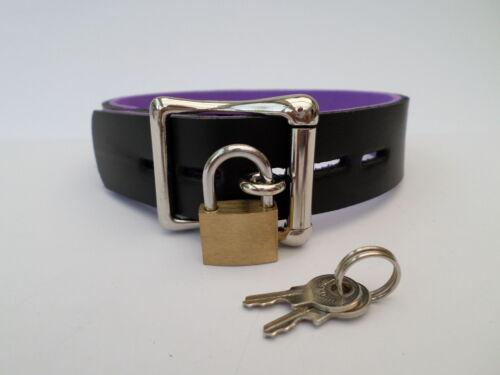 bdsm lockable leather slave bondage collar 24mm wide 30mm o ring black /& purple