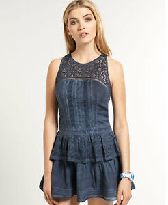 New-Womens-Superdry-Odessa-Dress-Cold-Dye-Navy