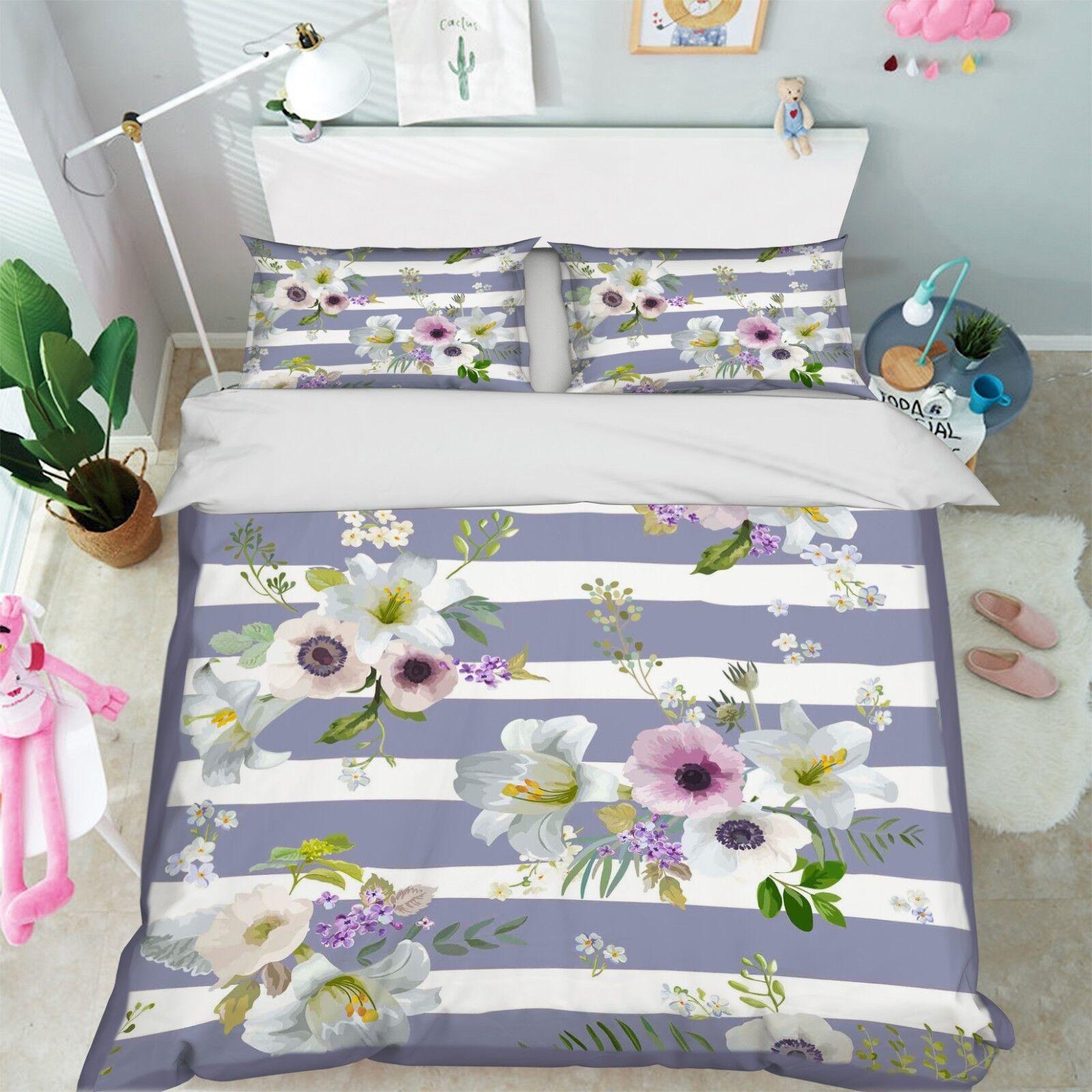 3D Flowers 102 Bed Pillowcases Quilt Duvet Cover Set Single Queen King Size AU