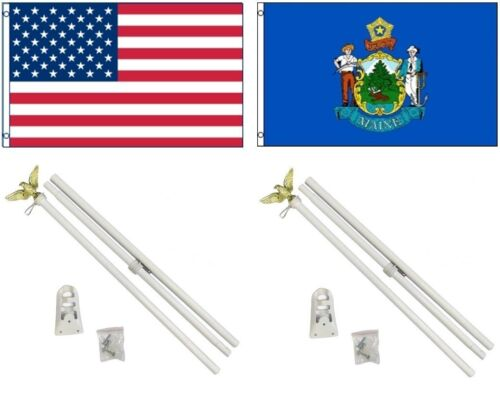 3x5 USA American /& State of Maine Flag /& 2 White Pole Kit Sets 3/'x5/'