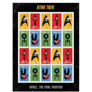 Star-Trek-Sheet-of-20-Forever-USPS-stamps-2015-bar-code-474000-Space-Ship
