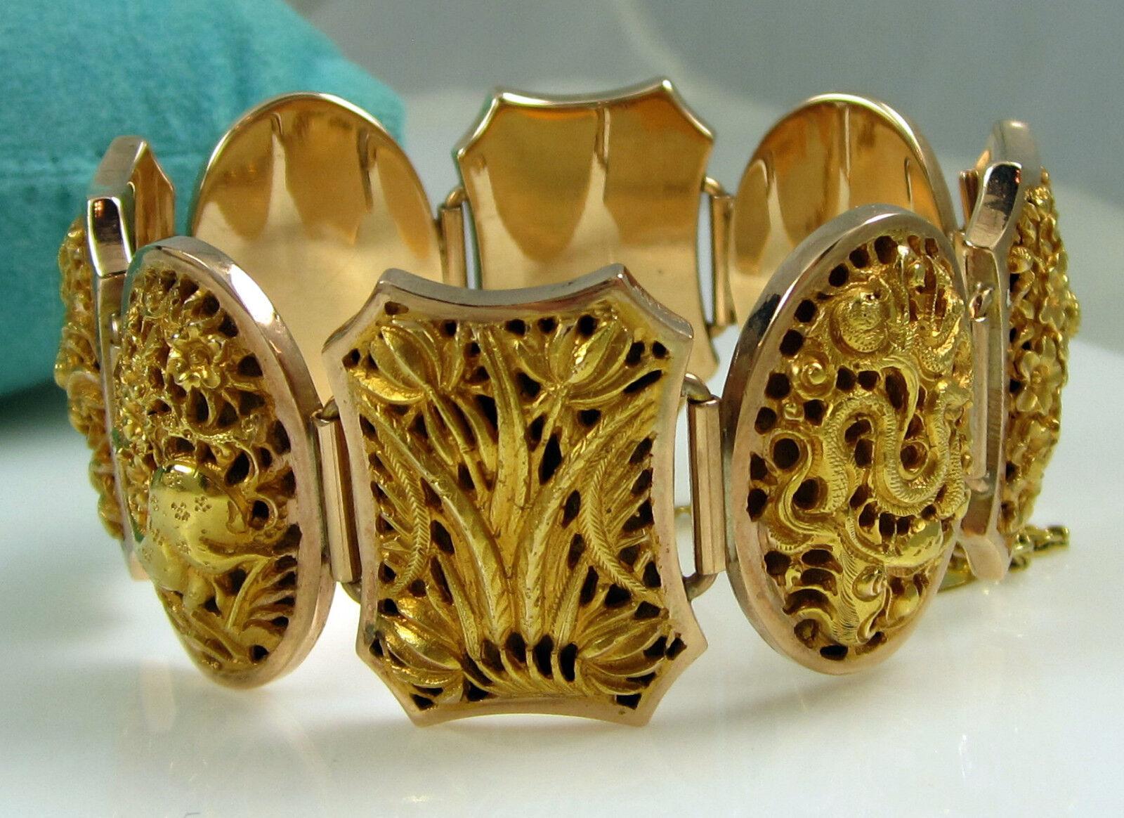 Estate Vintage RAMAYANA Epic 18k 9k Yellow gold Dragon Lotus 60.4 Gram Bracelet