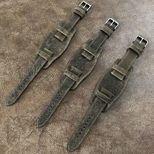 Size18-20-22mm-Easy-Release-Bund-Style-Wild-Bison-Leather-Watch-Strap-Band-094H