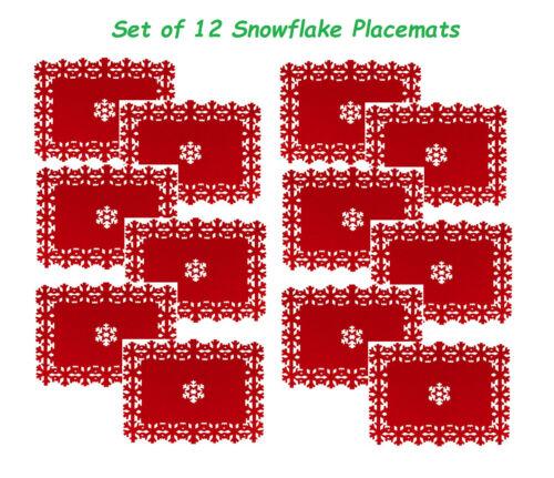 Lot de 12 beau noël sets de table flocon de neige lazercut red felt table decor