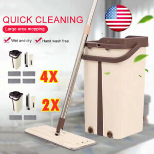 Flat-Squeeze-Mop-And-Bucket-Hand-Free-Wringing-Floor-Cleaning-Microfiber-Mops