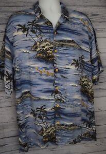 Original-Island-Hawaiian-Shirt-Mens-Size-Large-L-Rayon-Blue-Beach-Tropical-Aloha