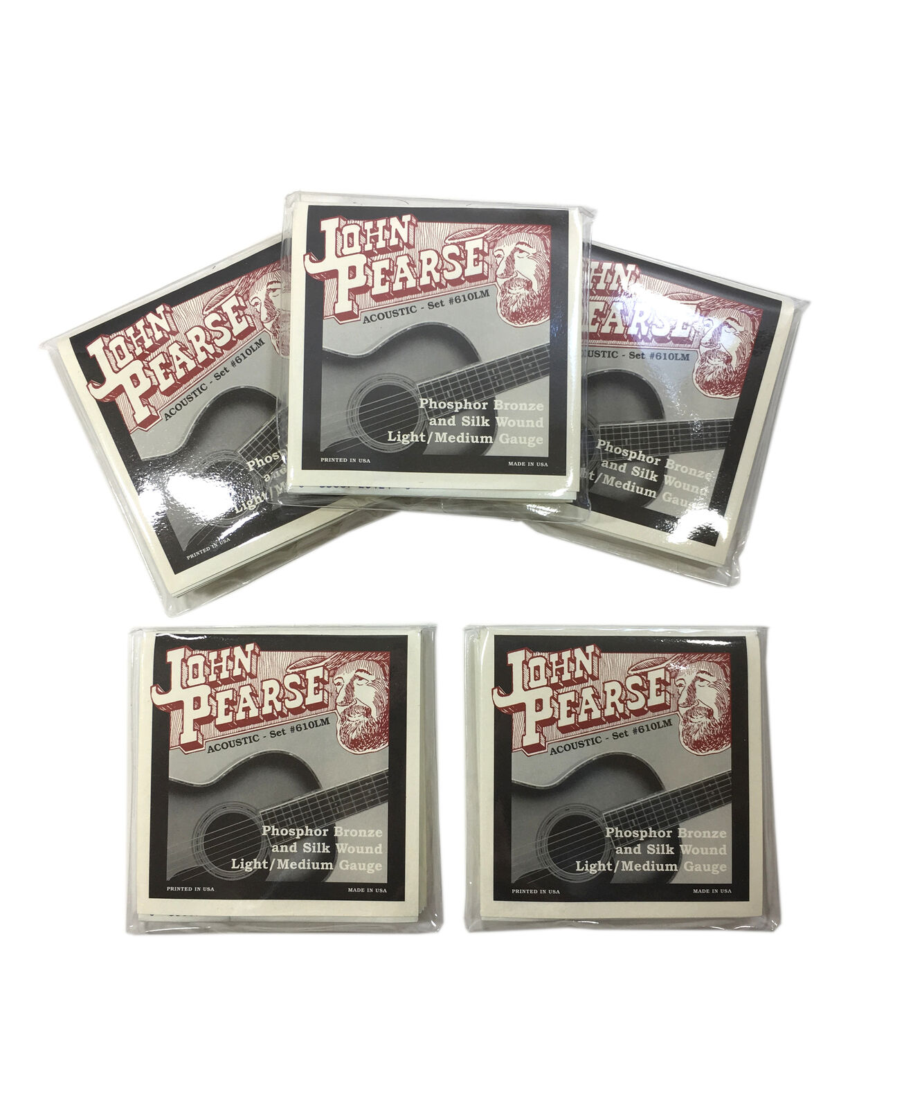 John Pearse Guitar Strings 5-Pack Acoustic Silk Wound Phos Bronze LM