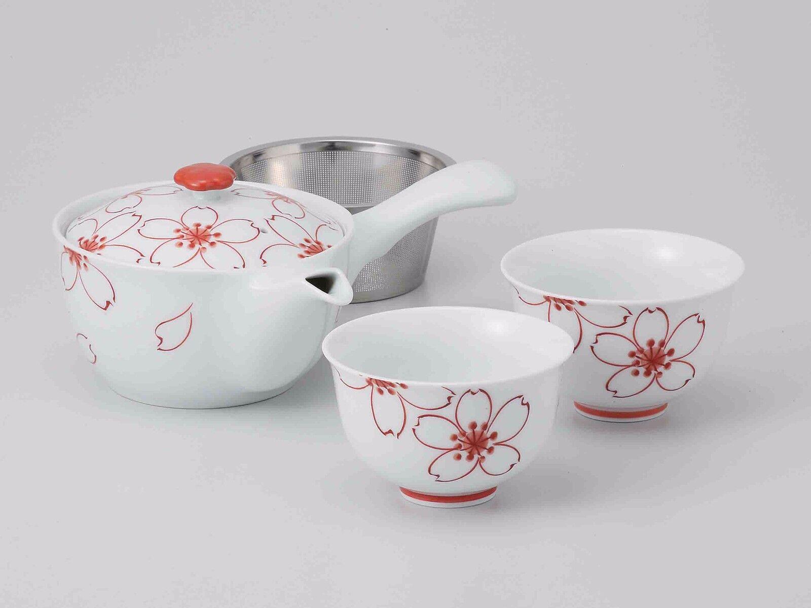 Hasami Porcelain  Kyusu TEA POT & 2 yunomi tea cups set (SAKURA) W Box