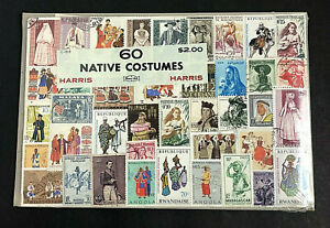 """Vintage Harris Stamp Packet """"60 Native Costumes"""" Used Stamps All Different C-919"""