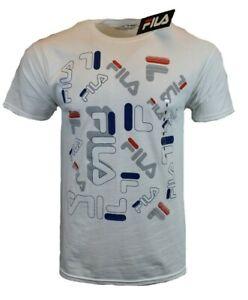 FILA-Mens-T-Shirt-M-L-XL-2XL-Logo-Athletic-Sports-Apparel-Graphic-Tee-White-NEW