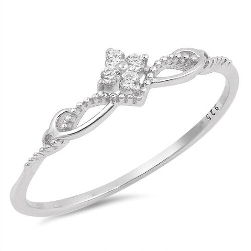 Ring Genuine Sterling Silver 925 Clear CZ Rhodium Plated Jewelry Face Height 6mm