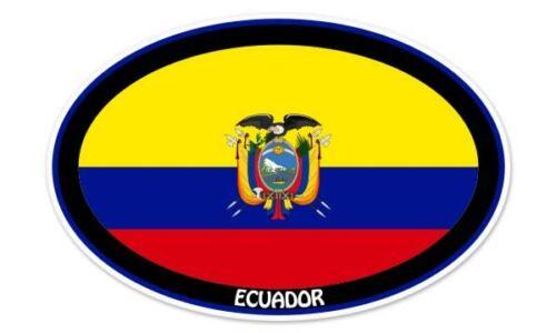"Ecuador Euro Flag Oval car window bumper sticker decal 5/"" x 3/"""