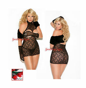 84af72cb992 VIVACE Queen Size BLACK LACE CUPLESS HALTER Mini Dress Chemise 1x 2x ...
