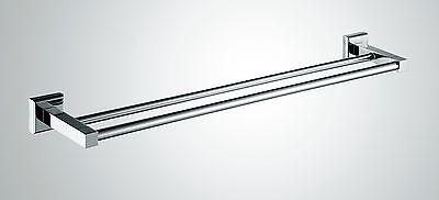 900mm DESIGNER DOUBLE TOWEL RAIL BAR Holder Bright Chrome -MODERN NEW 2015 HOOK