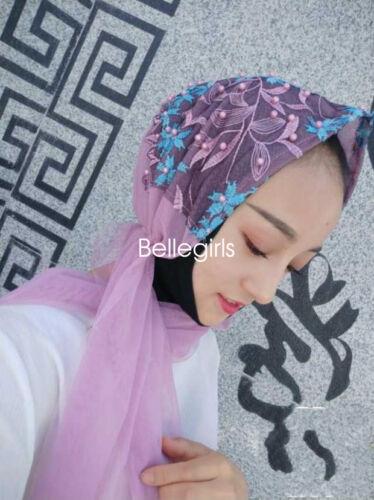 Womens Flower Embroidery Lace Shawl Shayla Scarf Plain Muslim Head Hijab Lot