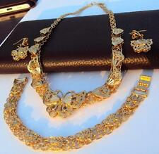 Bridal Fashion Jewelry Bollywood 14K Gold GF Necklace Earrings Bracelet set