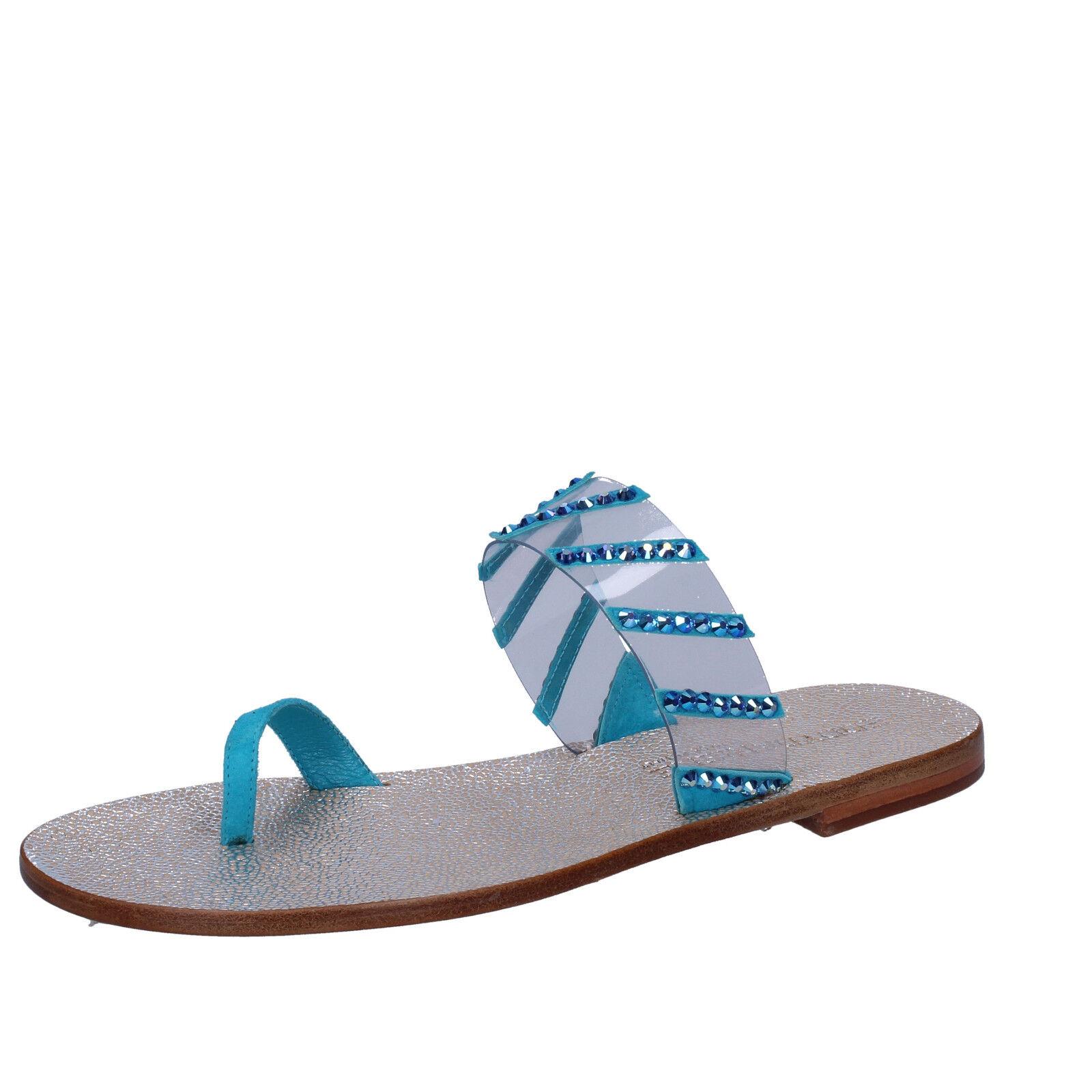 Damen schuhe EDDY DANIELE 37 EU sandalen blau wildleder swarovski AW487