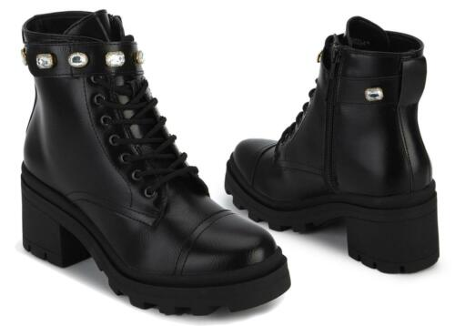 WOMENS LADIES BLACK FAUX LEATHER GEMSTONE ANKLE BOOTS LOW HEEL FASHION BOOT SIZE