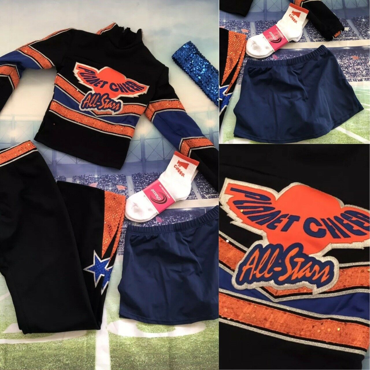 release date 713fa e9247 5pc Real Cheerleading Uniform Planet Cheer Comp