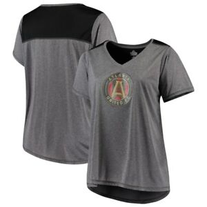 check out 4ffe8 fd678 Details about Atlanta United FC Majestic Women's V-Neck Contrast T-Shirt -  Heathered Charcoal
