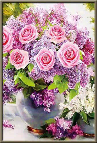 DIY 5D Diamond Painting Cross Stitch Kit Rose Flower  Embroidery Rhinestone Art