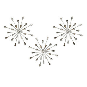 Details About Stratton Home Decor Set Of 3 Acrylic Burst Wall Decor