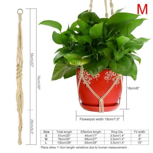 Plant Hanger Flowerpot Holder Basket With Hoop Macrame Hanging Rope for Decorati