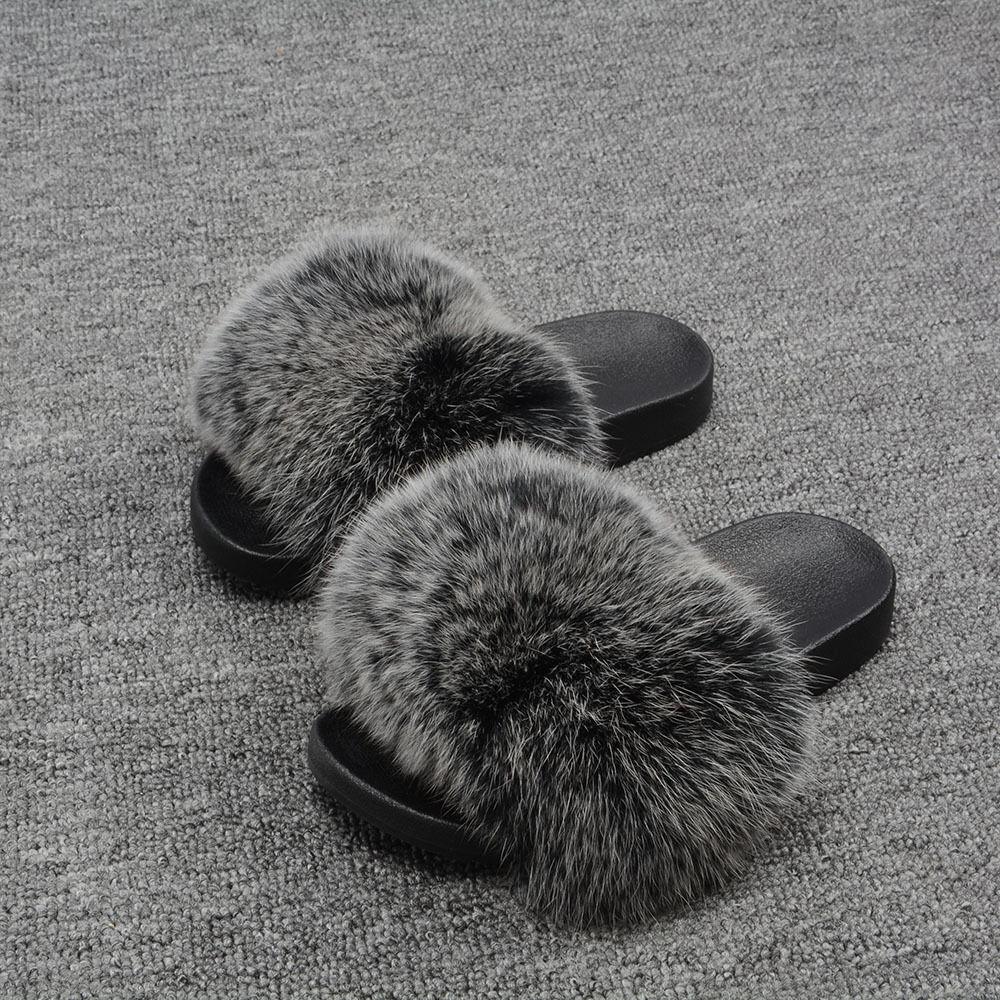 Frauen Echte Fuchspelz Hausschuhe Innen Flops Draussen Mode Eben Flip Flops Innen 66019B e9b2fd