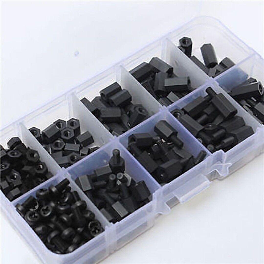 M2 Standoff Kit 180pcs Schwarz M2 Male Female Standoffs Schrauben Muttern Sortiment Kit mit Box