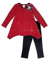 Girls Boutique Peaches N Cream Sz 4 Red Black Sequins Christmas Dress Outfit