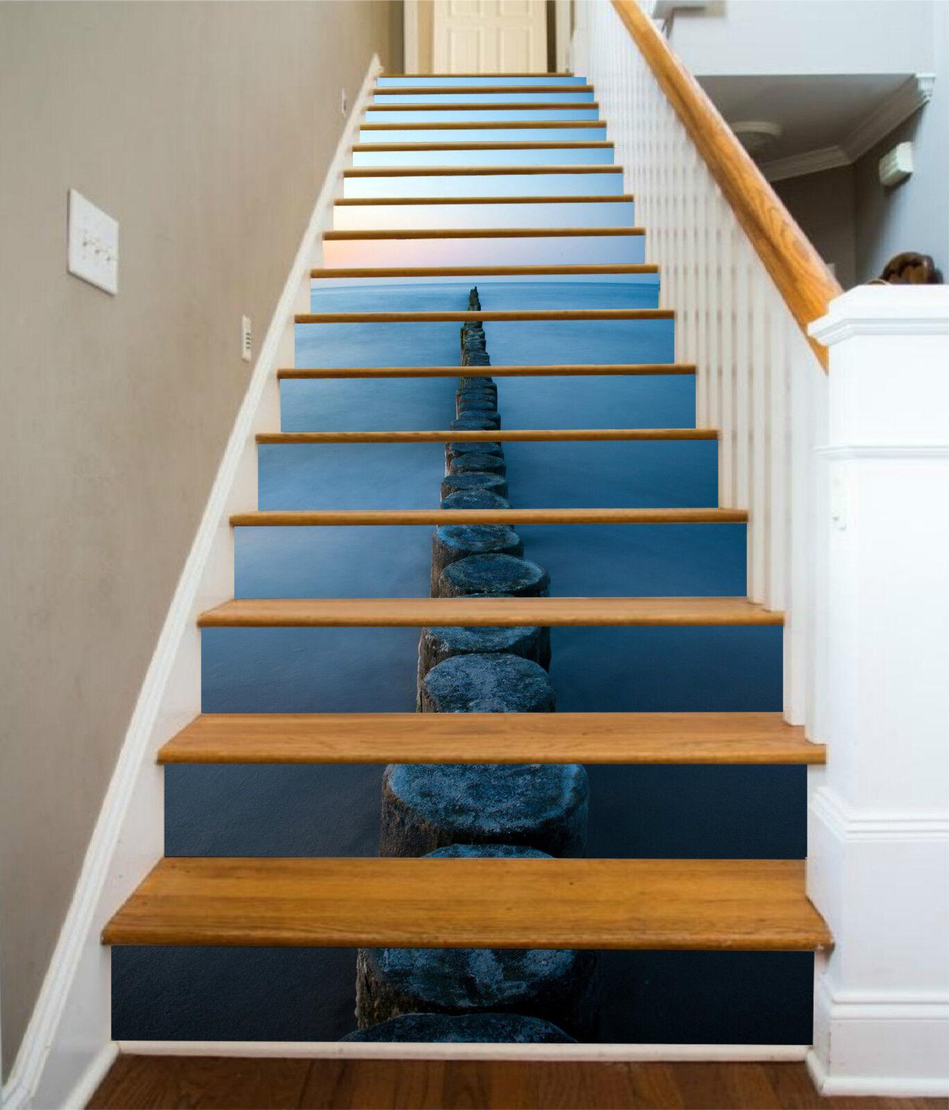 3D Boundless Meer 2 Stair Risers Dekoration Fototapete Vinyl Aufkleber Tapete DE