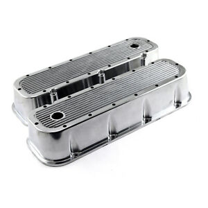 Chevy-BBC-454-Polished-Ribbed-Aluminum-Valve-Covers-Tall-w-Hole