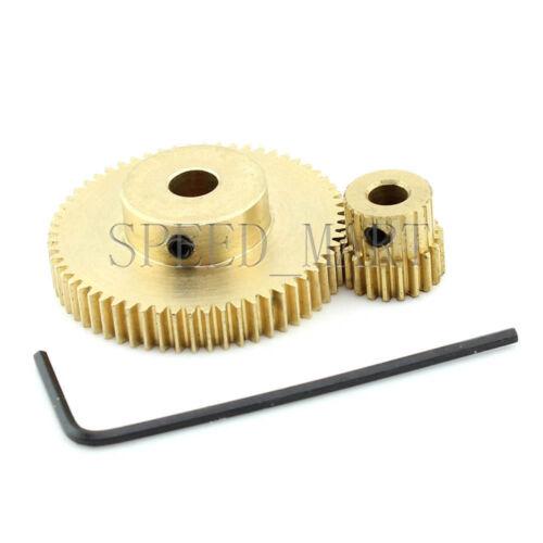 0.5M60T-20T Module 0.5 Motor Metal Gear Wheel Set Kit Ratio 3:1 Wheelbase 20mm