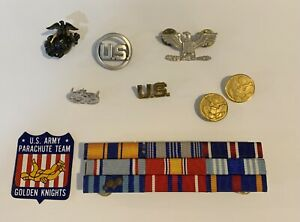 Lot Of random Vintage Military Uniform Pins, Ribbons, Buttons, Sticker, Flag