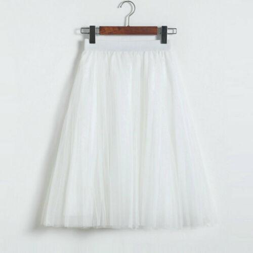 Damen Sommer 3 Schichten Tüll Tutu Rock Hohe Taille Plissee Midi Rock Petticoat