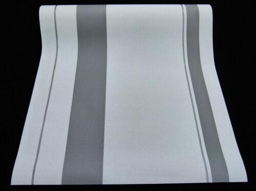 6 Rollen moderne Vliestapeten gestreift weiß grau silber mit Glanz 6889-10-