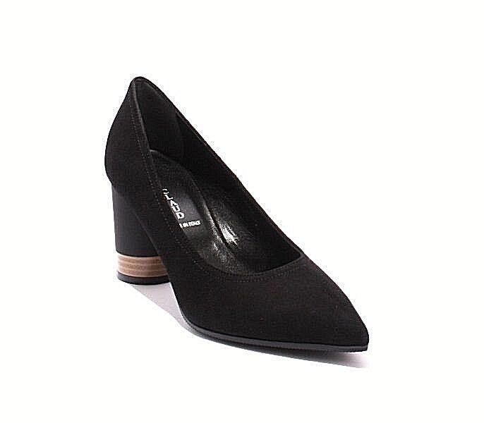 Mary Claud 8092 Black   Suede   Pointy Toe   Geometric Heel Pumps 36.5   US 6.5